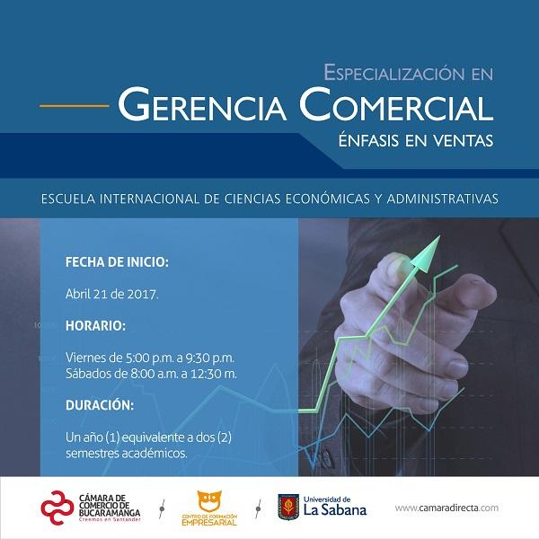 Especialización en Gerencia Comercial con énfasis en ventas